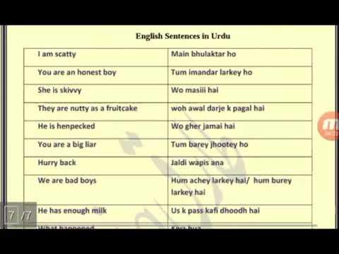 Free Spoken Urdu Language Course - Unique Urdu Sentences Lesson twenty Four