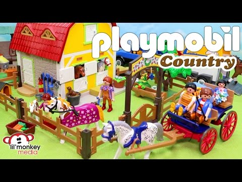 Yee Haw! Playmobil Country!  Pony Farm, Horses and Foal, Horse Drawn Carriage and More!