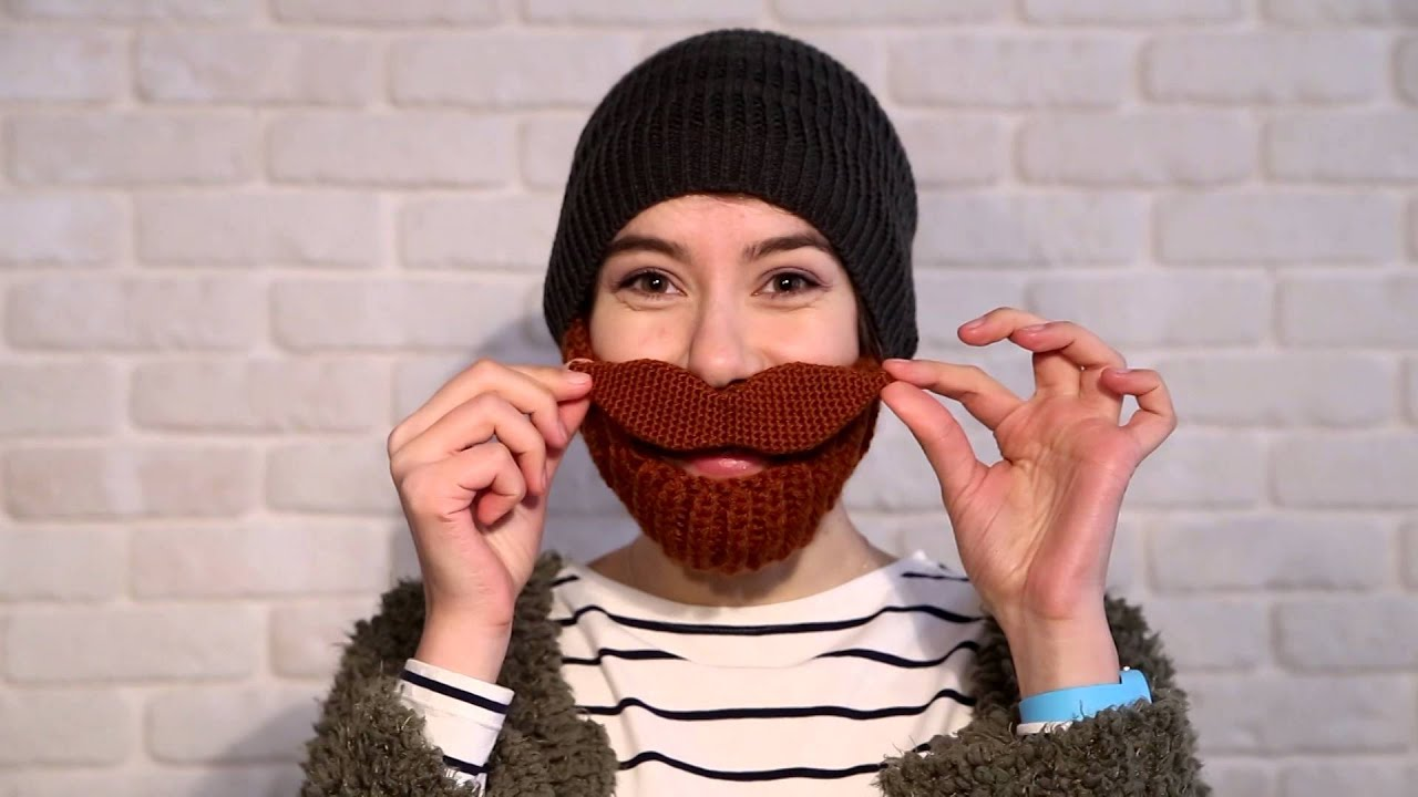 Handmade Crochet Grey And Brown Beard Hat With Awesome Moustache