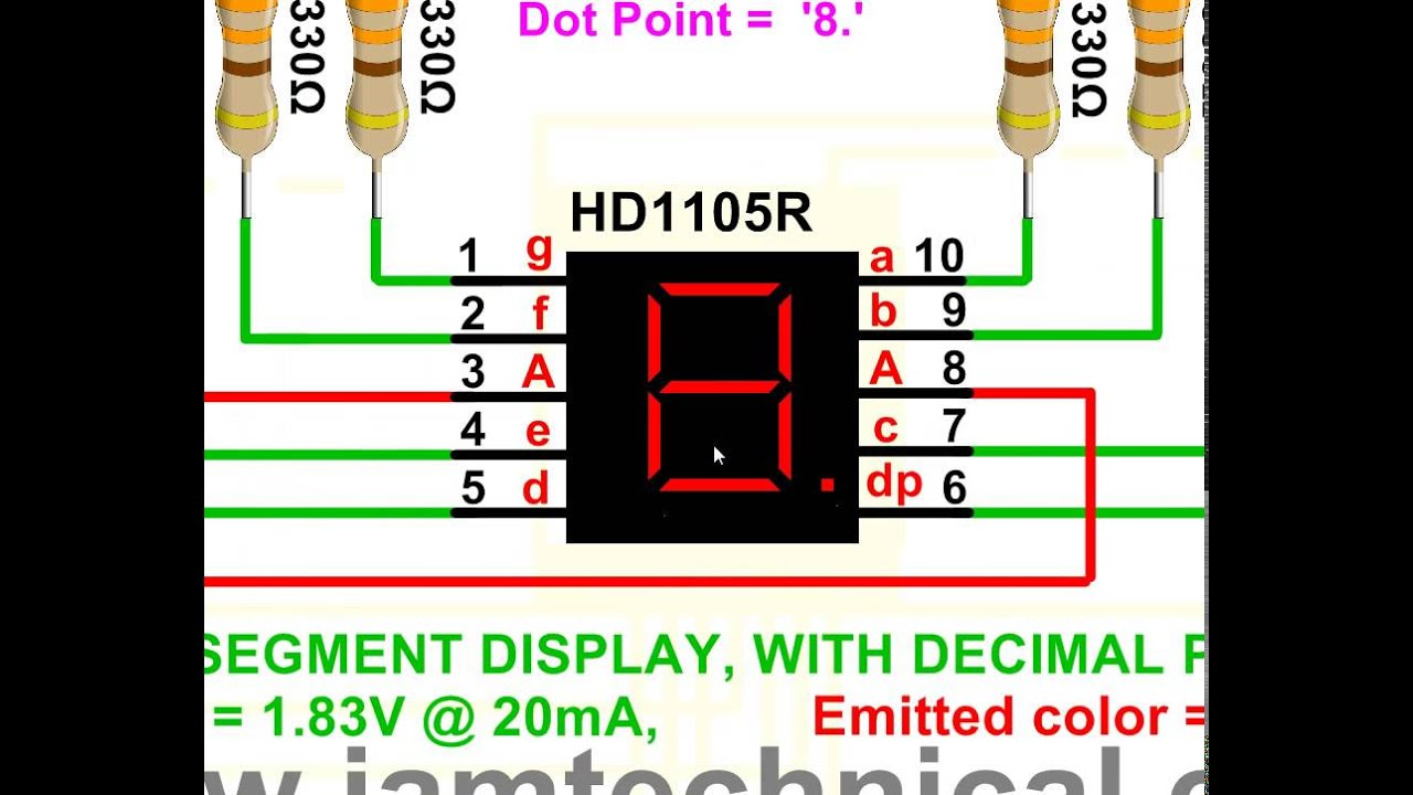7 segment display, common anode, hd1105r with decimal point display7 segment display, common anode, hd1105r with decimal point display decimal number \u00278\u0027