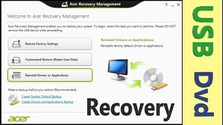 Acer Recovery Management. Sistem Kurtarma yedeği almak [Usb Flaş - Dvd] ACER system