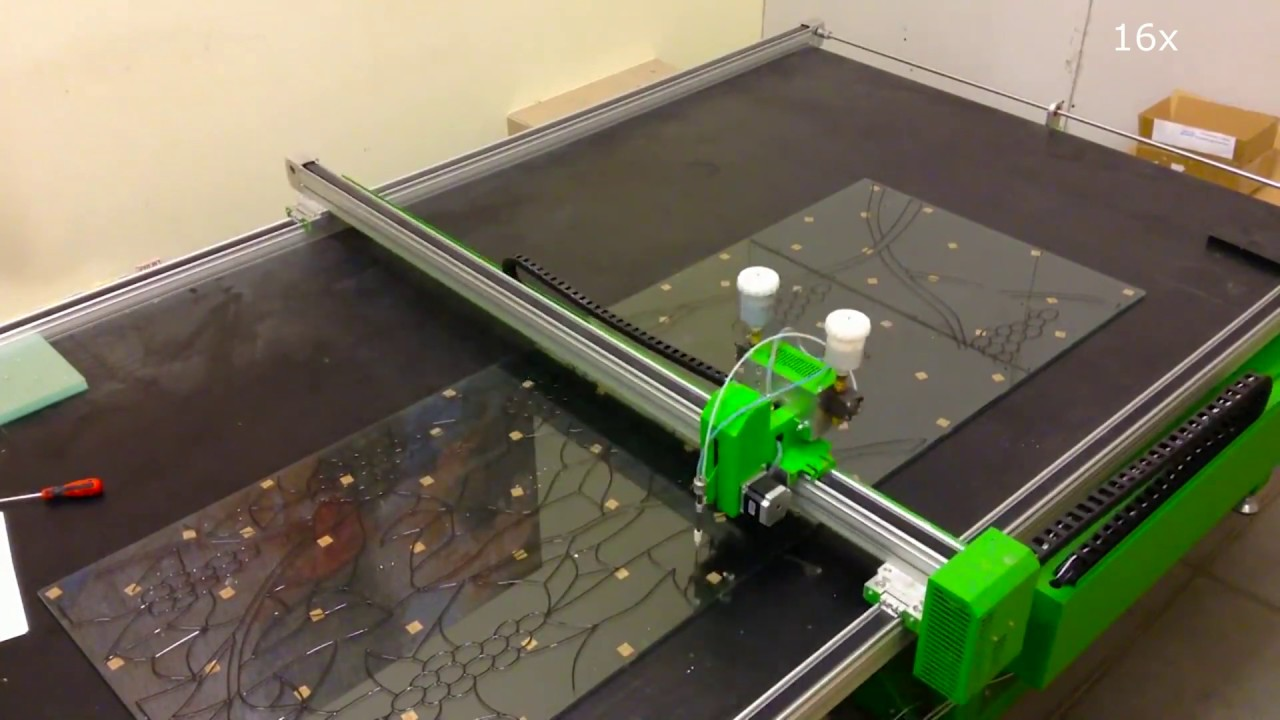 CNC stained glass machine Designer DM 1425 with head of cutting glass and film