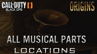 Black ops 2 Zombies Origins All Part Locations For Main Music Disc  And Gramophone/Megaphone !