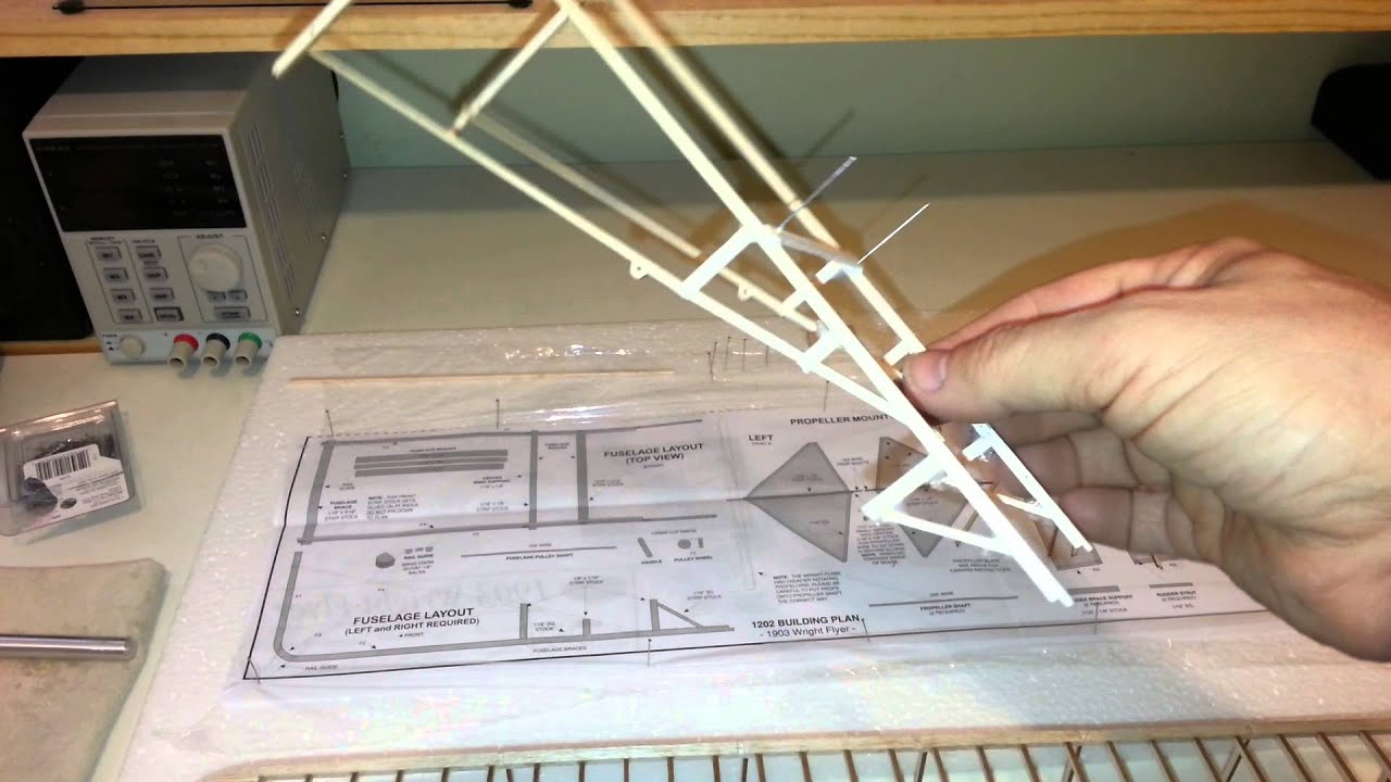 balsa wood model kit of a 1903 wright brothers plane
