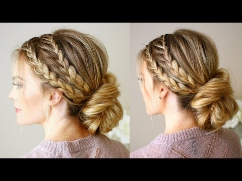 Triple Braided Updo Hairstyle