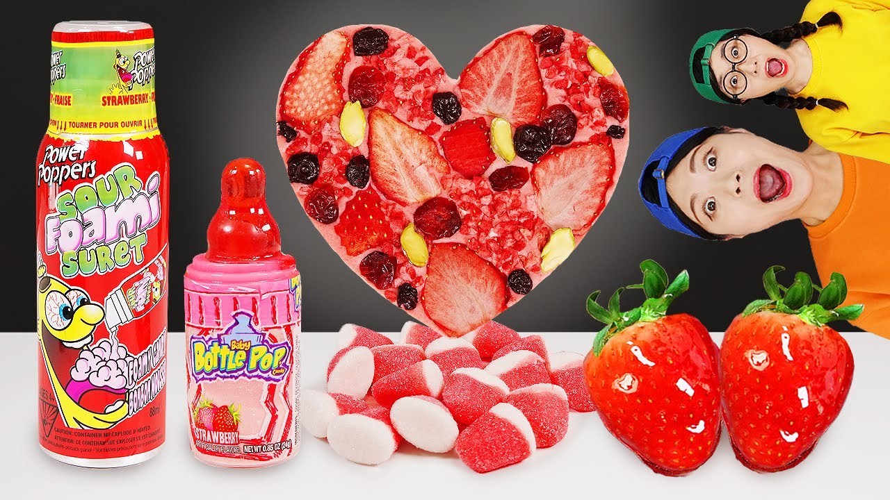 Pink Food Strawberry Ice Cream DONA MUKBANG