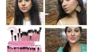 32 piece makeup brush set MYMAKEUPBRUSHSET honest review + demo