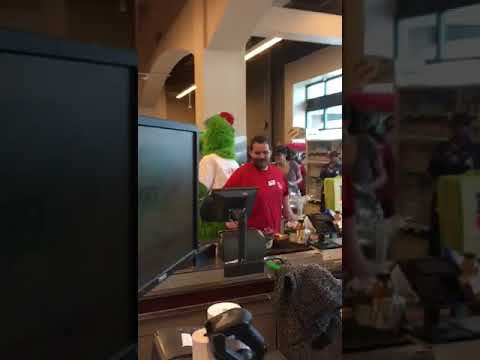 Philly Phanatic at supermarket