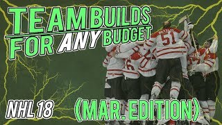 NHL 18 HUT | ANY BUDGET TEAM BUILDS - March Edition