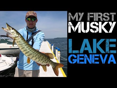 My First Ever MUSKY!!--Lake Geneva WI