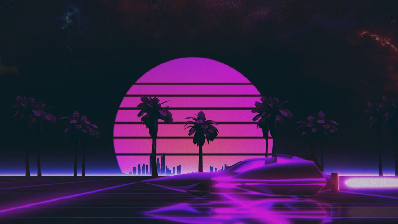 Outrun Sunset Animation Loop - Creative Commons