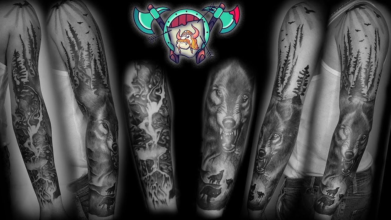 Wolfs In The Forest Full Arm Sleeve Tattoo Timelapse