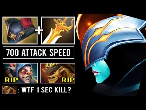 CRAZY ITEM Pirate Hat + Rapier Max Attack Speed Crit Level 30 PA Delete Enemy in 1 Sec Dota 2