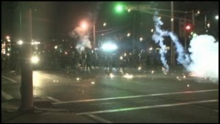 Raw Video: Police Smoke Bomb Missouri Protesters