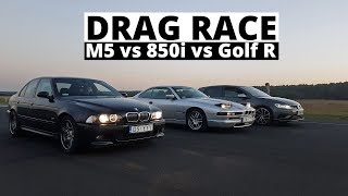 Drag race - M5 vs Golf R vs 850i - kto wygra?