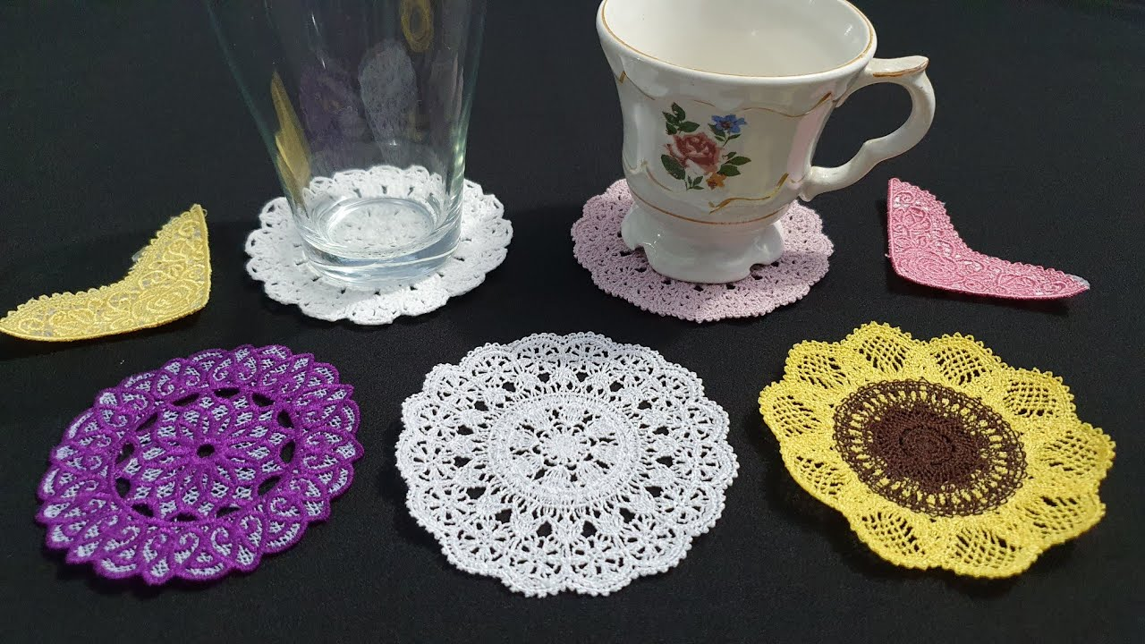 Encaje bordado tipo crochet con maquina bordadora