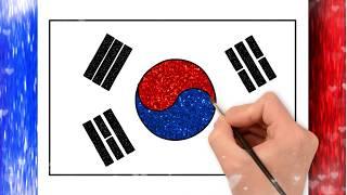 South korea flag drawing  korean flag  National Flags  Little Channel  National Flag of Koren  Asian