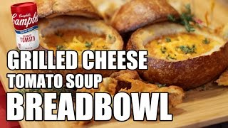 Grilled Cheese Tomato Soup Bread Bowl Recipe  |  Hellthyjunkfood