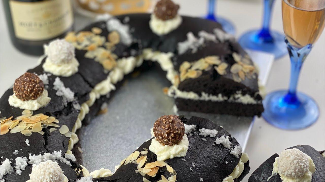 Roscón de San Valero Intense Deep Black - con Ferrero Rocher y Raffaellos