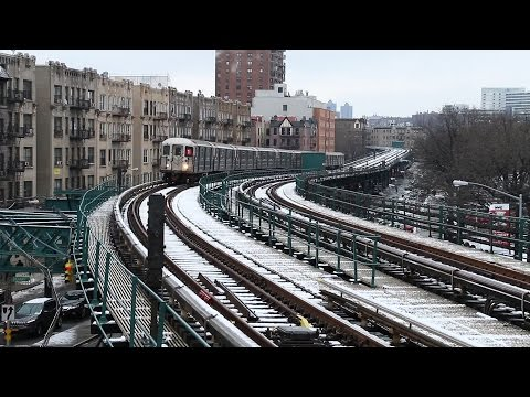 New York City Subway: Snowy Elevated Trains in Manhattan and Bronx
