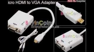 Cáp chuyển Micro HDMI Male to VGA Female +audio output Video Converter Adapter