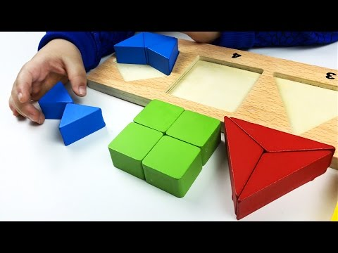 Learn SHAPES, COLORS, count SIDES of shapes with wooden puzzle pieces toy. Le't play kids.