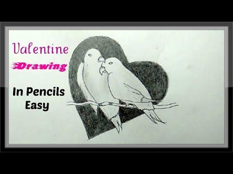 Pencil Art Drawing Of Love Birds