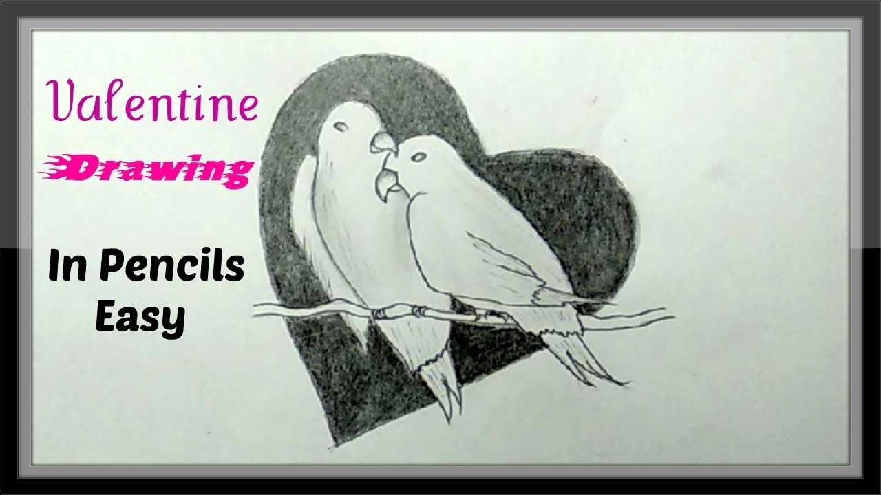 Cool pencil drawing romantic pair of love birds easy