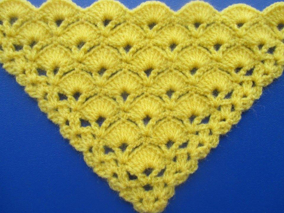 Chal Triangular o en punta Tejido a Crochet en Punto Abanicos paso a ...