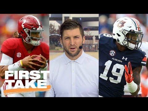 Tim Tebow predicts winner of Alabama vs. Auburn Iron Bowl game | First Take | ESPN