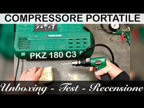 COMPRESSORE lidl, portatile PARKSIDE. Di cosa è capace? PKZ 180 C3. UNBOXING TEST E RECENSIONE.