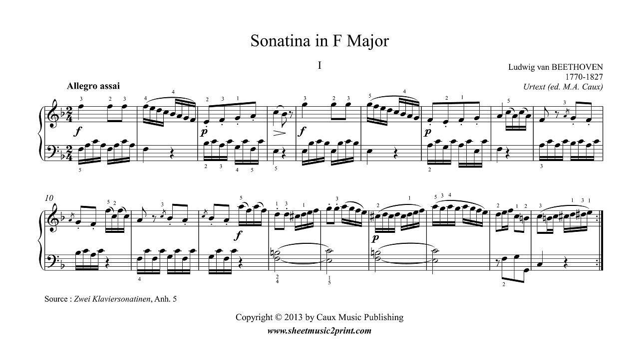 beethoven sonatina in f major free sheet music