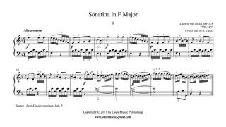Beethoven : Sonatina in F Major, Anh. 5 (1/2)
