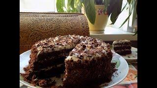 шоколадный Торт со сметанным кремом и коньячной пропиткой. рецепты без слов