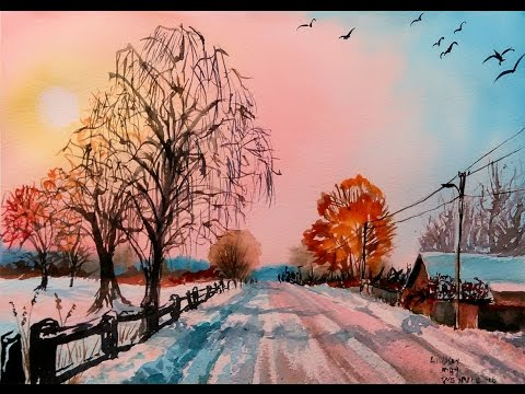Snowy Rural Road in Watercolor & One Point Perspective Drawing