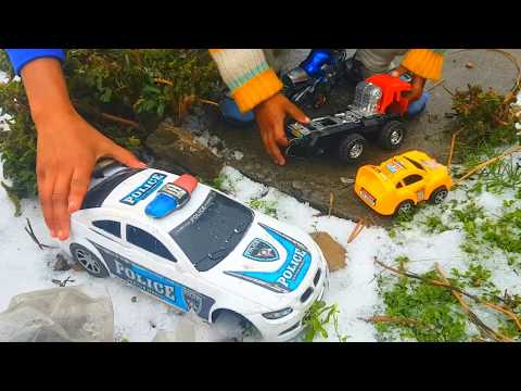 Toys In Snow Police Car, Dump Truck, Car, Motorcycle in Snow - Video for Children