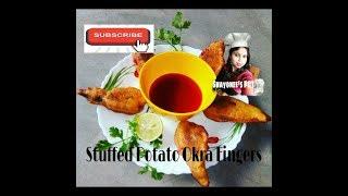 Stuffed Potato Okra Fingers / stuffed aalu bhindi fingers( snacks / starter)