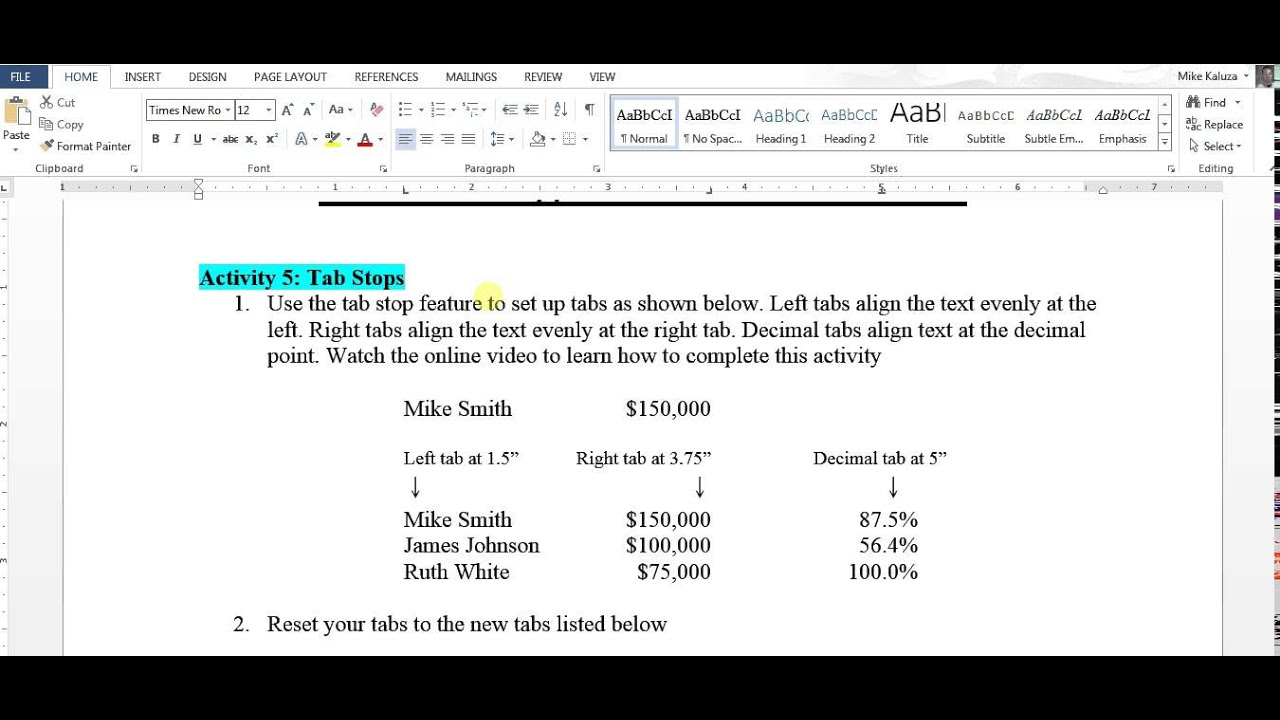 Formatting in Microsoft Word Activity 5 - YouTube