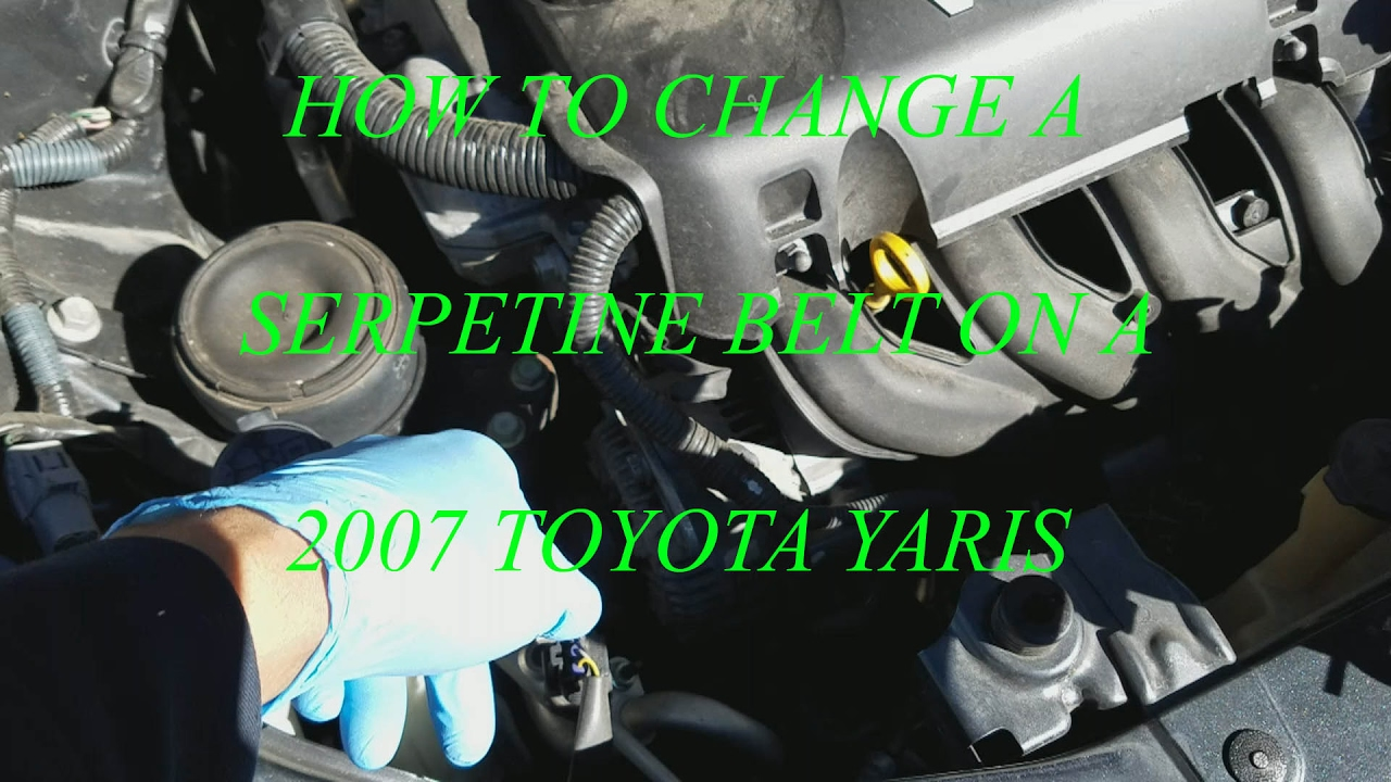 how to change a serpentine belt on a 2007 toyota yaris  [ 1280 x 720 Pixel ]