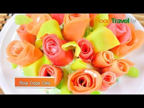 เครปเค้กดอกกุหลาบ Rose Crape Cake เค้กวันแม่ - Mother's Day Cake