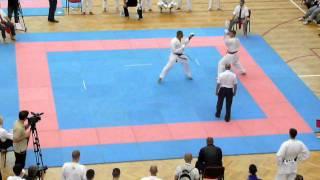 Mens Team Kumite Final GBR - Sonny Roberts (SHIRO) v Serbia (AKA) PT 1