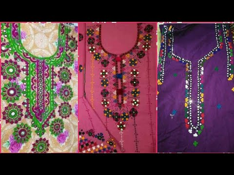 Beautiful Hand Embroidery Sindhi Karhai Work Neck Designs