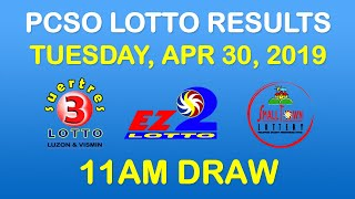 Lotto Result April 30 2019 11am PCSO