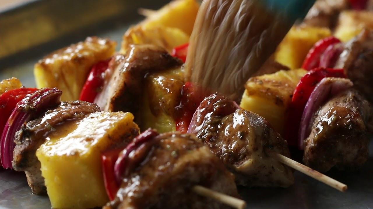 Jerk Chicken And Pineapple Skewers •Tasty