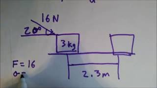 A block of mass m = 3.00 kg is pushed a distance d = 2.30 m...