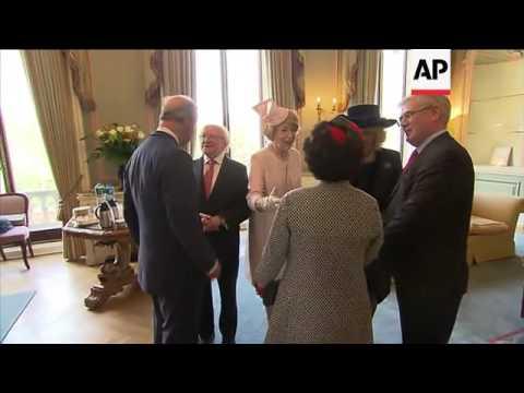 Prince Charles welcomes President Higgins at Irish embassy