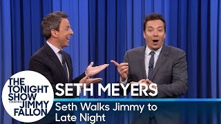 Seth Meyers Walks Jimmy Fallon to Late Night's Set for an Interview After Tonight Show