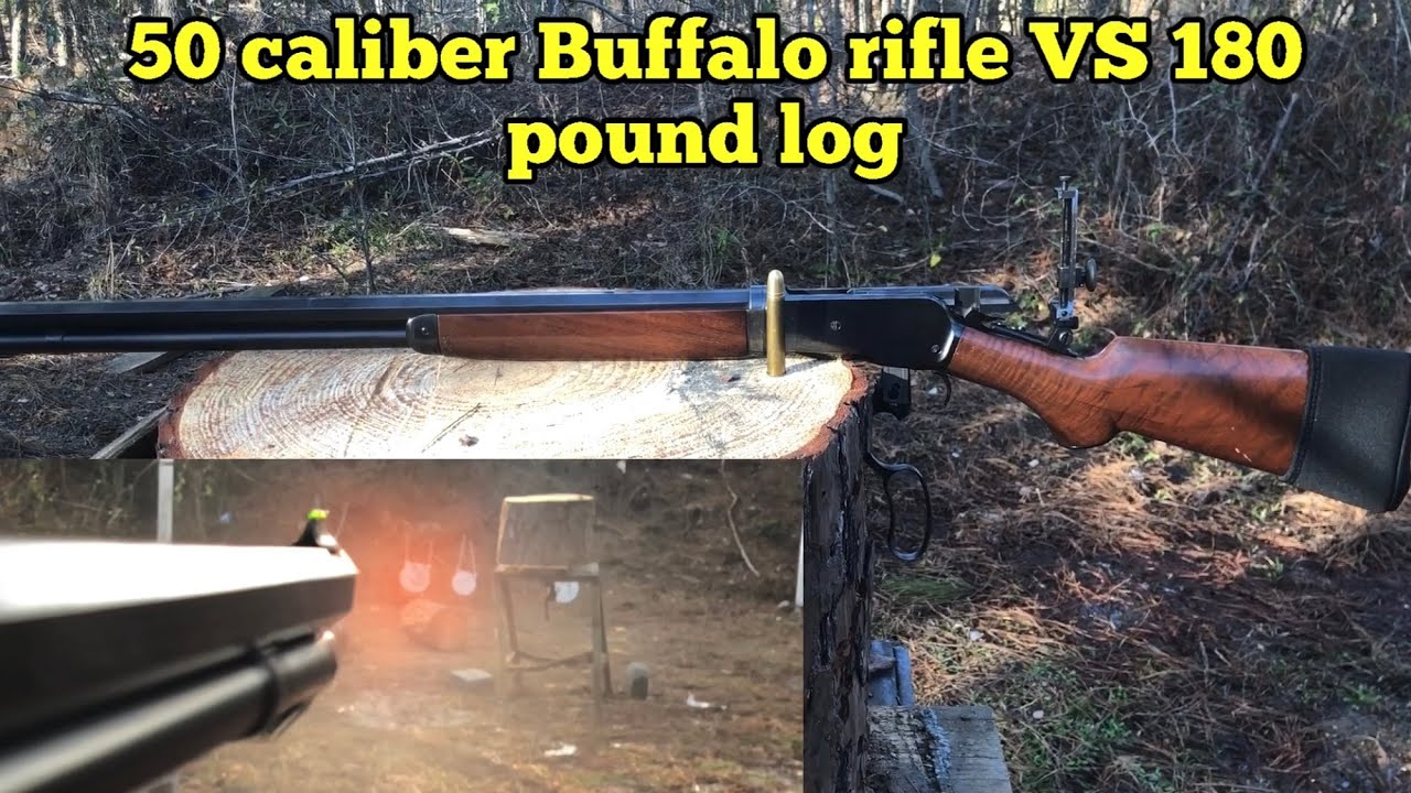 1886 lever action rifle VS 180 pound log