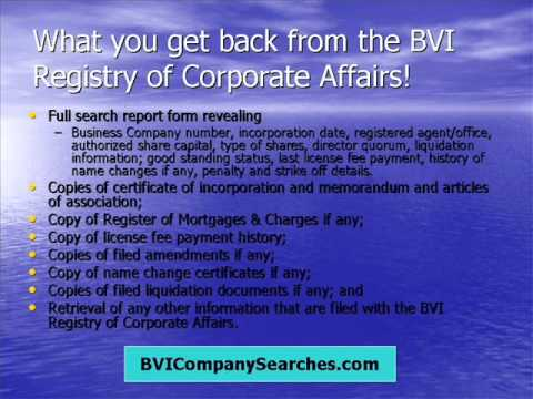 British Virgin Islands Business Company Searches & Related Services