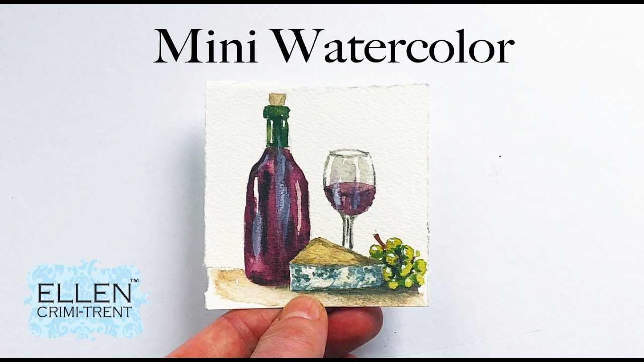 Watercolor Mini Painting- Wine & Cheese
